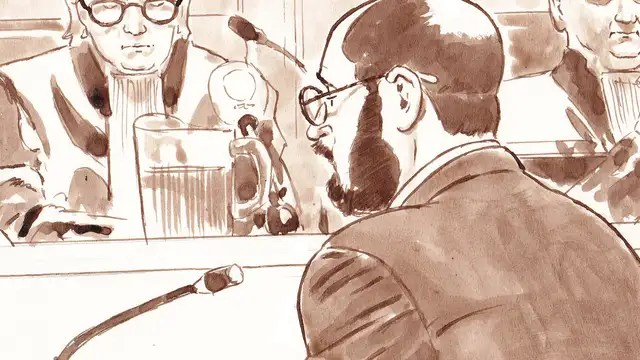 Bart van U. in court, drawing