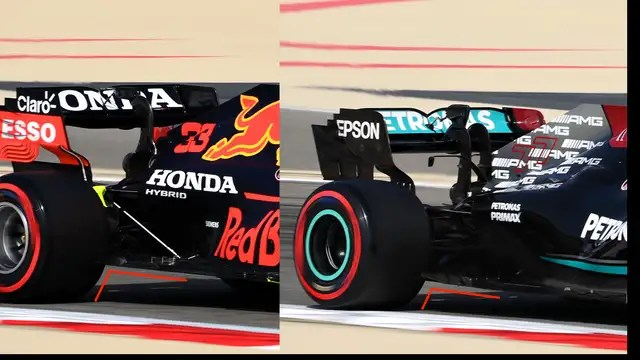 The Red Bull (left) is behind much higher off the asphalt and therefore has a higher 'rake' than the Mercedes (right).
