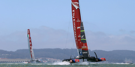 Emirates Team New Zealand already have a substantial speed advantage over Luna Rossa. Photo / AP