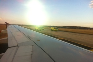 A passenger's picture taken aboard flight ANZ726, which suffered an engine failure this morning on take-off. Photo / Supplied