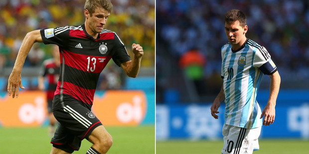 Thomas Muller and Lionel Messi will lead their team's attack in Monday morning's World Cup final. Photo / Getty