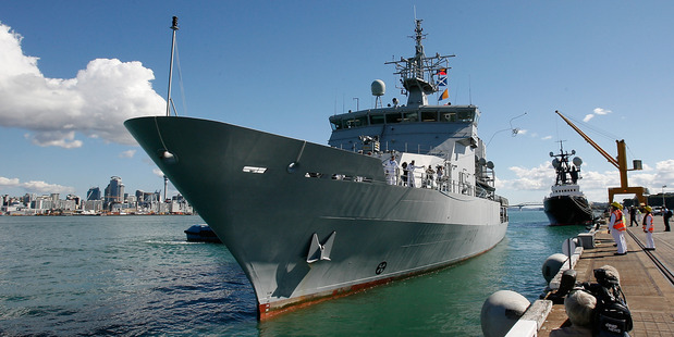 HMNZS Otago will berth at Queens Wharf on Anniversary Weekend. Photo / Greg Bowker