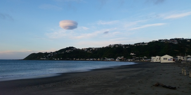 Alex Greig said he often visited Lyall Bay Beach along Wellington's southern coast with his wife, but this morning an unusual shaped orb caught his eye. Photo / Alex Greig