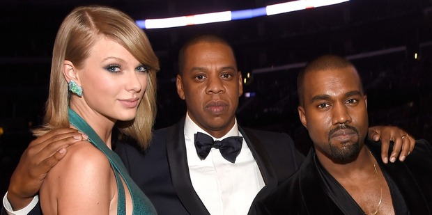 Taylor Swift, Jay Z and Kanye West at The 57th Annual Grammy Awards, 2015. Photo / Getty Images