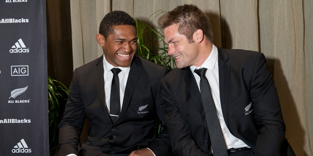 All Blacks wing Wasaki Naholo with captain Richie McCaw. Photo / Mark Mitchell