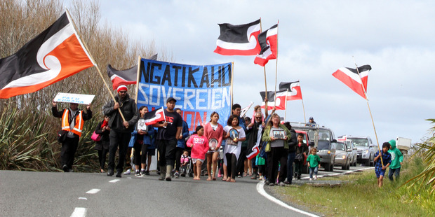 Hikoi to Kaitaia Airport for occupation by Ngati Kahu. Photo / Edward Rooney