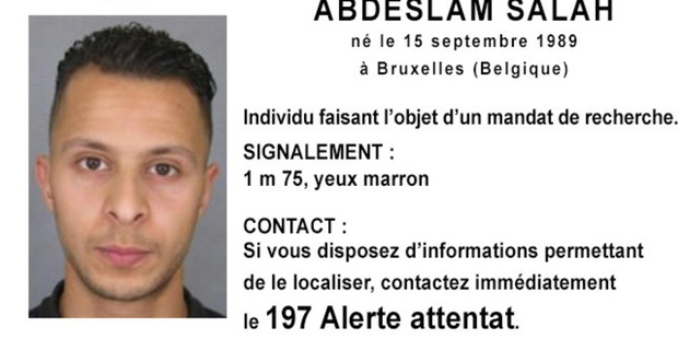 This alert was released by French police who are on the hunt for 26-year old Salah Abdeslam. Photo / AP