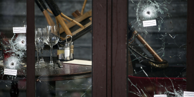 The Comptoir Voltaire cafe two days after the attack. Photo / Getty
