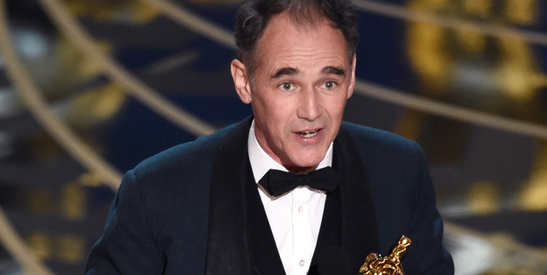 Mark Rylance accepts the award for best actor in a supporting role for Bridge of Spies at the Oscars. Photo / AP