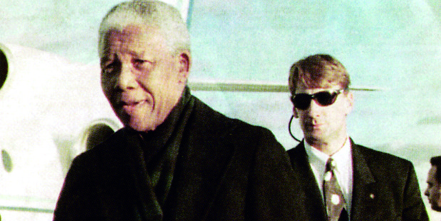 Rory Steyn and Nelson Mandela in the 1990s. Photo / Supplied