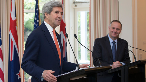 US Secretary of State John Kerry and Prime Minister John Key during a joint-press conference after their bi-lateral talks at Premiere House in Wellington