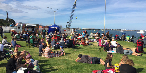around 200 people turned out to a harbourside family event in Tauranga. Photo / Jamie Morton