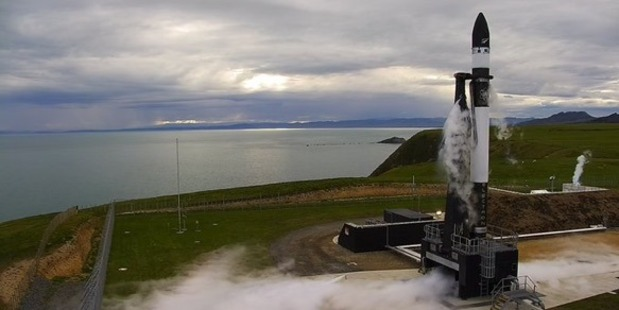 The Electron rocket on the Mahia launch pad.  Photo / Supplied