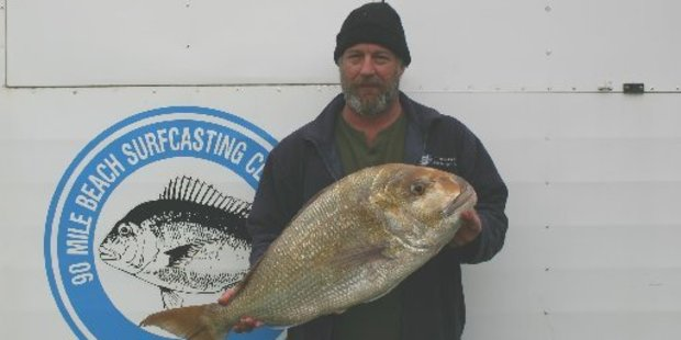 Dave Hallett wound in the catch of the day with a 8.81 kg snapper.