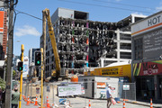 The Reading Cinema car park building had to be demolished after the Kaikoura Earthquake. File photo / Mark Mitchell