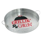 Amscan Summer Bbq Round Metal Serving Tray 2 14 X 14 Silver Office Depot