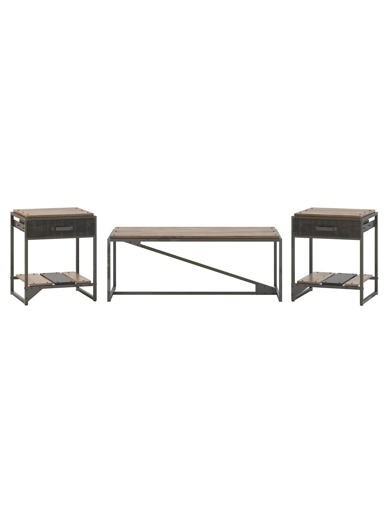 Bush Furniture Refinery Coffee Table Set Gray Office Depot