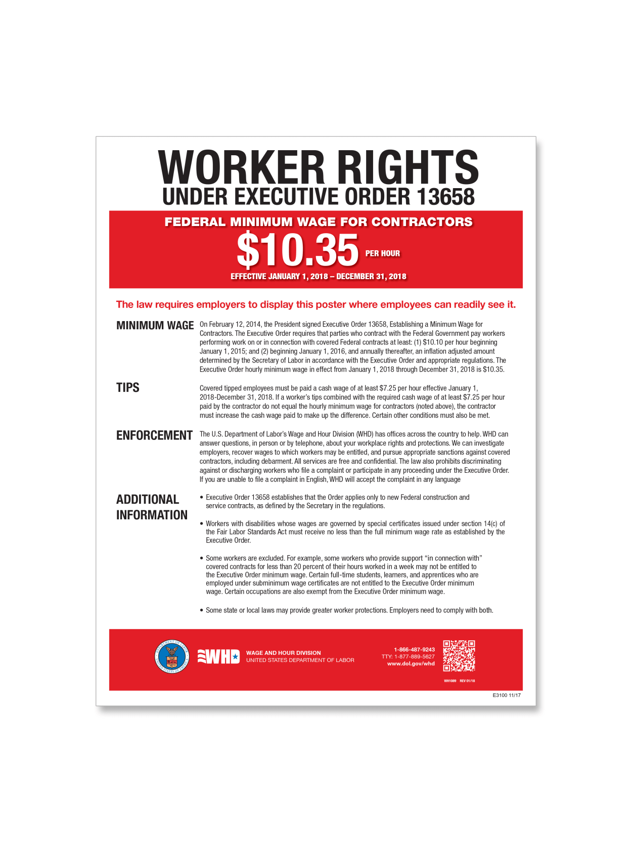 complyright federal contractor minimum wage poster english 11 x 17 item 969629