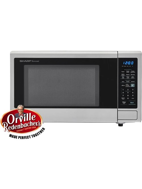 sharp carousel 1 4 cu ft countertop microwave oven with orville redenbacher s popcorn preset stainless item 151311
