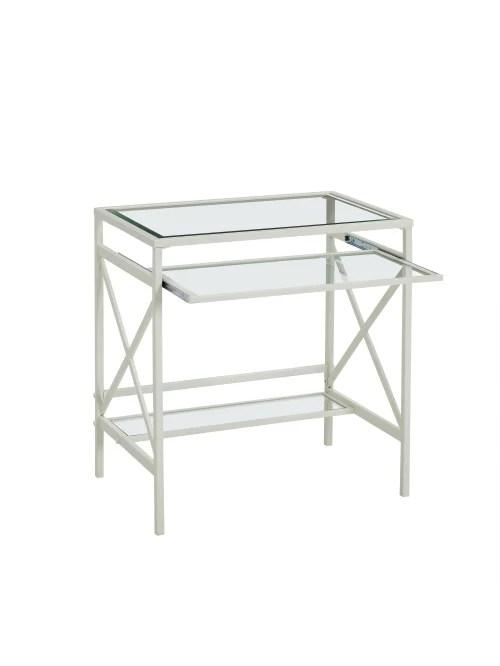 southern enterprises elvan metal glass desk white item 714396