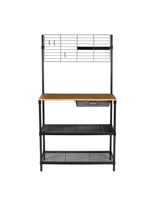 honey can do bakers rack with hanging storage 2 shelf black item 8314274