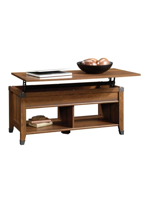 sauder carson forge lift top coffee table 19 h x 43 1 8 w x 19 1 2 d washington cherry item 9594503