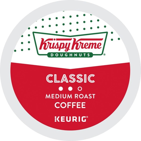 Krispy Kreme Doughnuts coffee delivers a soft and sweet cup with a delicate flavor from start to finish. This smooth, medium roast coffee goes great with your favorite breakfast.  Made from freshly ground, mellow and mild beans from 4 regions.  Enjoy this smooth, medium roast with your favorite doughnuts or pastries.  Includes a pack of 24 medium roast coffee pods.  Krispy Kreme Doughnuts is not affiliated with Keurig or K-Cup. K-Cup is a registered trademark of Keurig Incorporated.