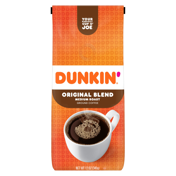 Make the most of every morning with a cup of Dunkin' Donuts Coffee. With this bag of ground coffee beans, you can brew your own pot without ever having to leave your kitchen. The 100% Arabica beans are medium roasted for a rich taste and aroma.  Dunkin' Donuts original blend coffee.  Medium roast for a rich, smooth taste.  Made from 100% premium Arabica beans.  Each 12-oz bag makes up to forty 6-oz cups of coffee.  Includes 1 bag of Dunkin' Donuts ground coffee.