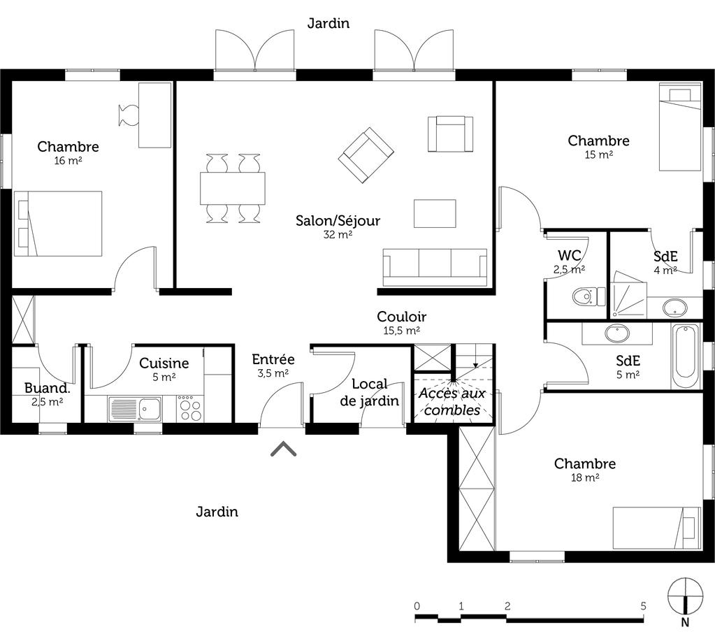 maison 3 chambres et 2 salles de bain