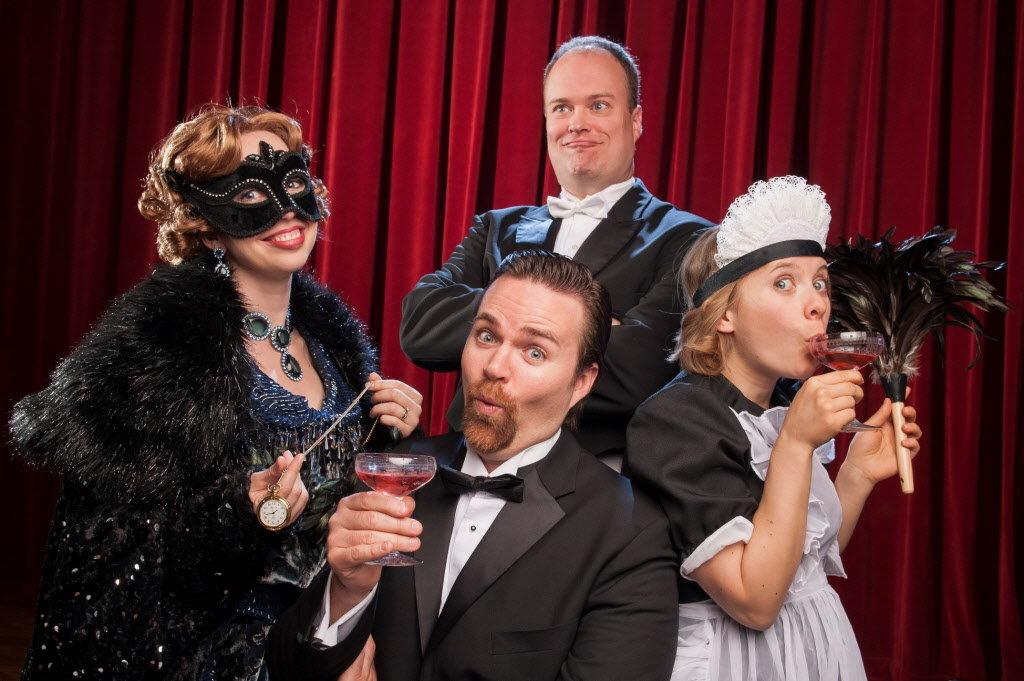 Gabriel von Eisenstein, Rosaline, Adele, and Dr. Falke in Mock Crest Productions' Die Fledermaus
