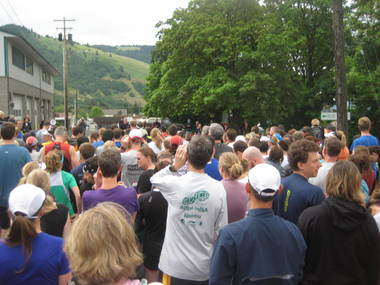 Runners listen to instructions before the 2014 White Salmon Backyard Half Marathon.