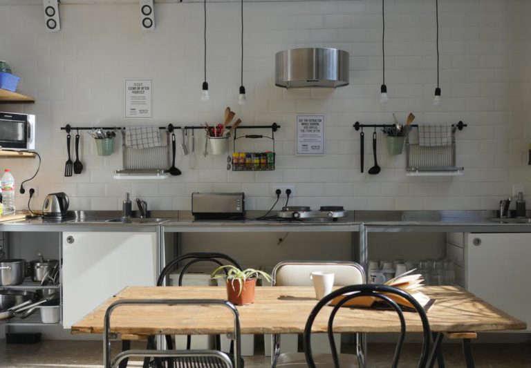 organized hostel kitchen