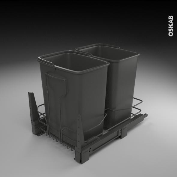 kit 2 poubelles encastrables 32l tiroir coulissant anthracite sokleo