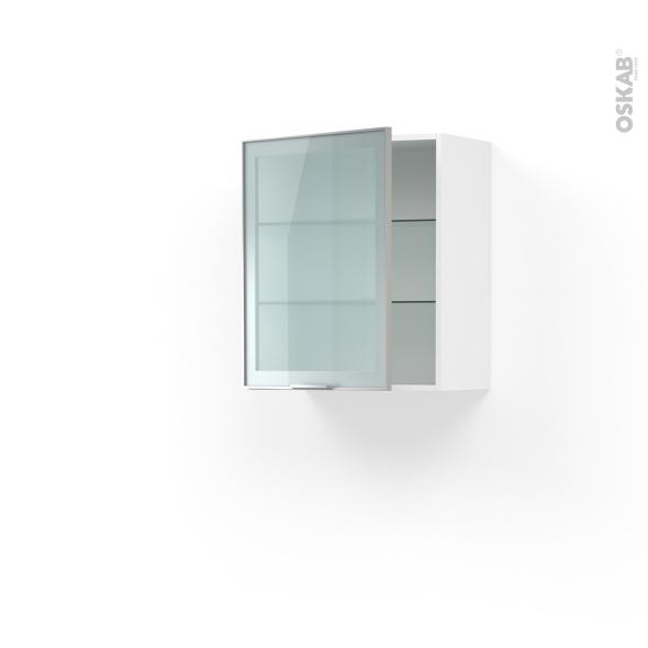 meuble de cuisine haut ouvrant vitre facade alu 1 porte l60 x h70 x p37 cm sokleo
