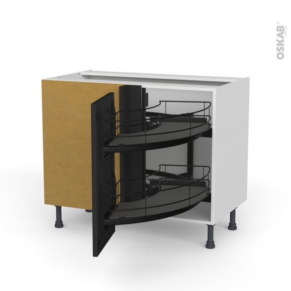 meuble de cuisine angle bas avara frene noir demi lune coulissant epoxy tirant droit 1 porte l40 cm l80 x h70 x p58 cm