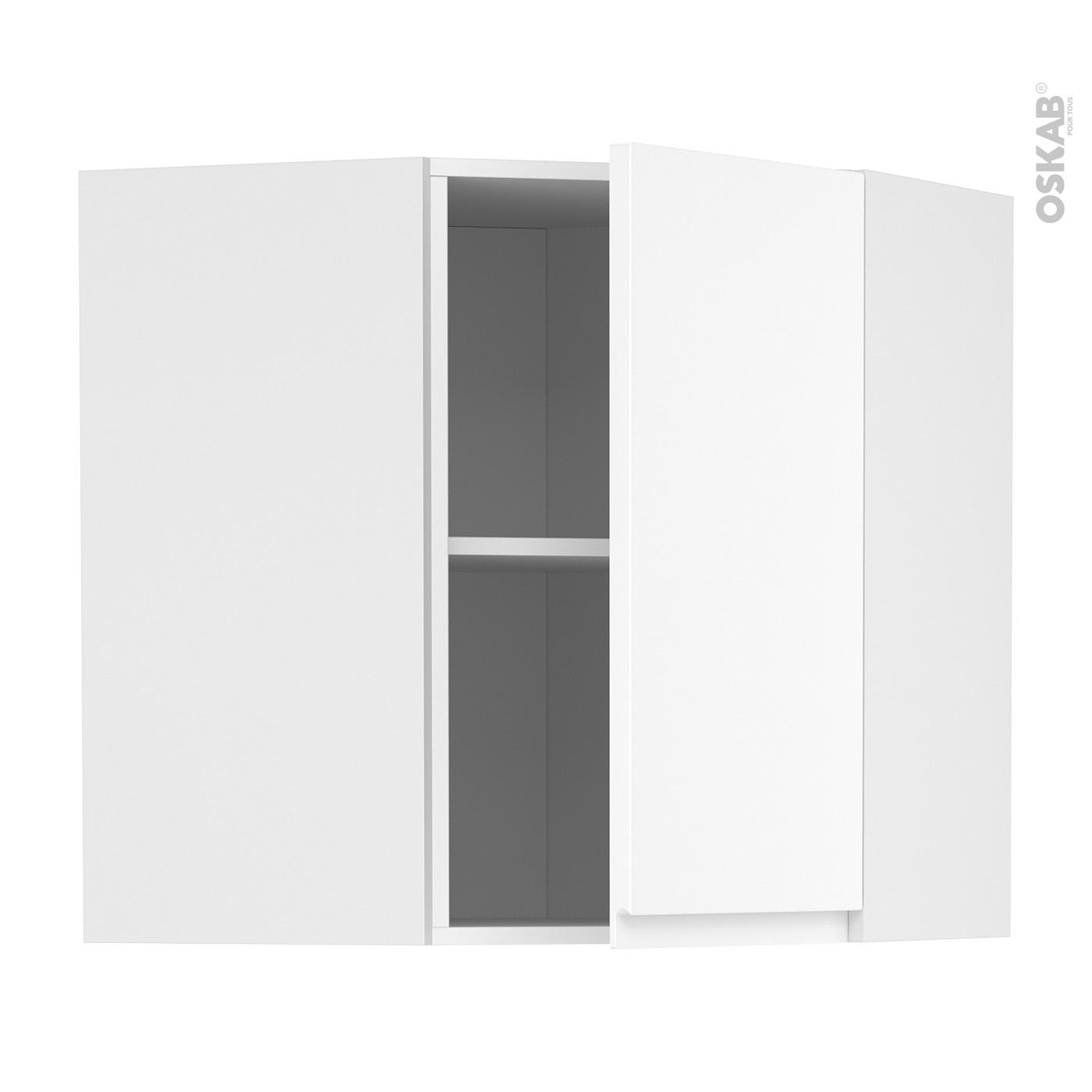 meuble de cuisine angle haut ipoma blanc mat 1 porte n 85 l40 cm l65 x h70 x p37 cm