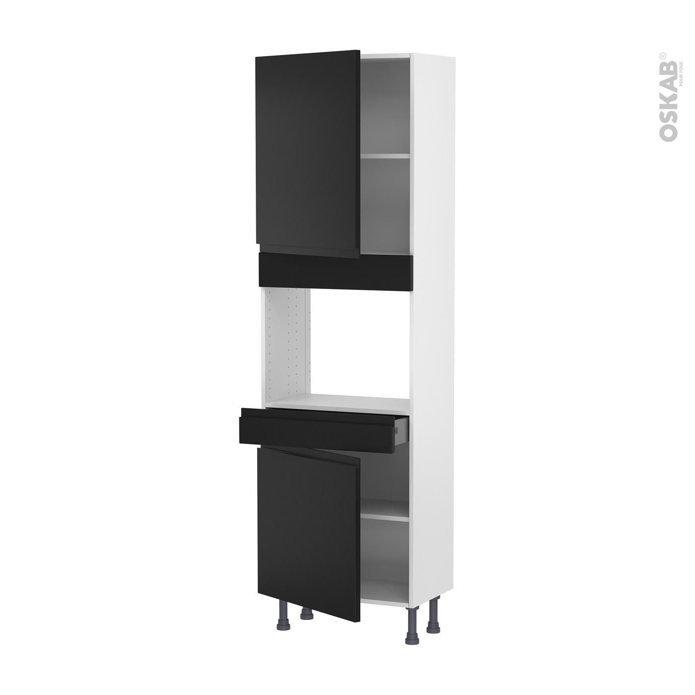 colonne de cuisine n 2156 four encastrable niche 45 ipoma noir mat 2 portes 1 tiroir l60 x h195 x p37 cm