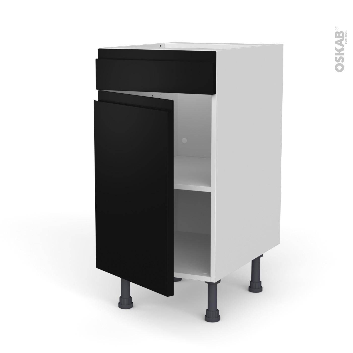 meuble de cuisine bas faux tiroir haut ipoma noir mat 1 porte l40 x h70 x p58 cm