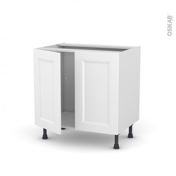 meuble de cuisine sous evier static blanc 2 portes l80 x h70 x p58 cm