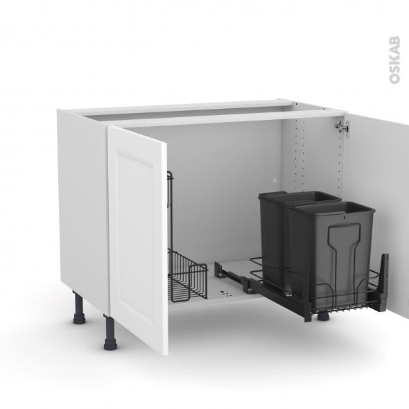 meuble de cuisine sous evier static blanc 2 portes lessiviel poubelle coulissante l100 x h70 x p58 cm