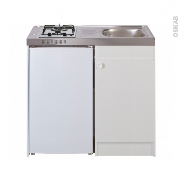 kitchenette gaz meuble sous evier blanc avec refrigerateur l100 x h93 x p60 cm sokleo