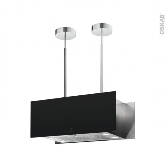 hotte de cuisine aspirante ilot decorative 90cm noir mat electrolux kfia19r