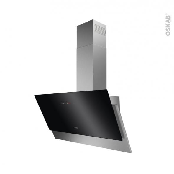 hotte de cuisine aspirante inclinee 90cm inox et verre noir faure ffv919y