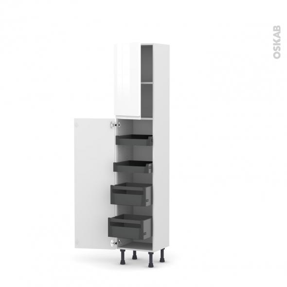 colonne de cuisine n 1926 armoire de rangement ipoma blanc brillant 4 tiroirs a l anglaise l40 x h195 x p37 cm