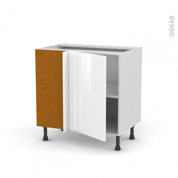 meuble de cuisine angle bas reversible iris blanc 1 porte n 19 l40 cm l80 x h70 x p58 cm