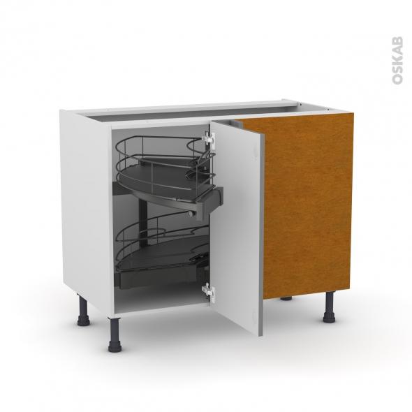 meuble de cuisine angle bas filipen gris demi lune coulissant tirant droit 1 porte l40 cm mobile l80 x h70 x p58 cm