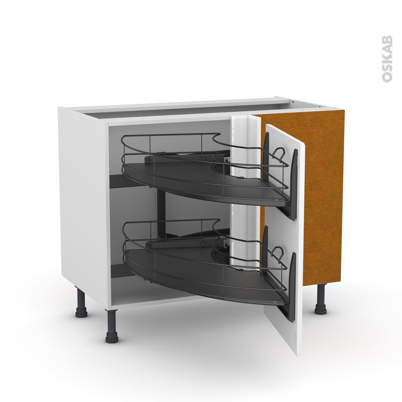 meuble de cuisine angle bas iris blanc demi lune coulissant epoxy tirant droit 1 porte l50 cm l100 x h70 x p58 cm