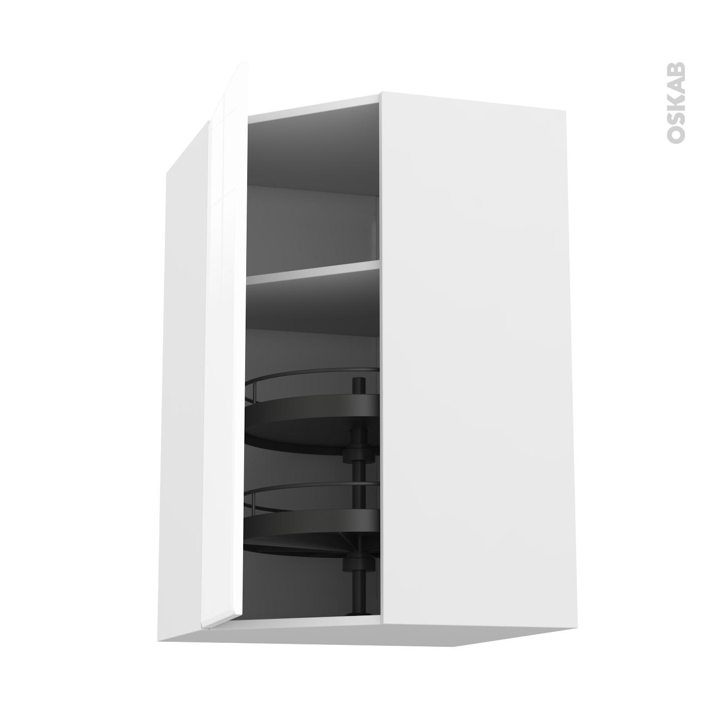meuble de cuisine angle haut iris blanc tourniquet 1 porte n 23 l40 cm l65 x h92 x p37 cm