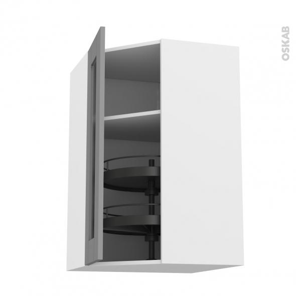 meuble de cuisine angle haut vitre filipen gris tourniquet 1 porte n 84 l40 cm l65 x h92 x p37 cm