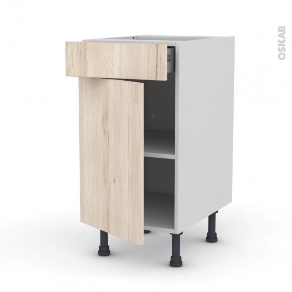 meuble de cuisine bas ikoro chene clair 1 porte 1 tiroir l40 x h70 x p58 cm